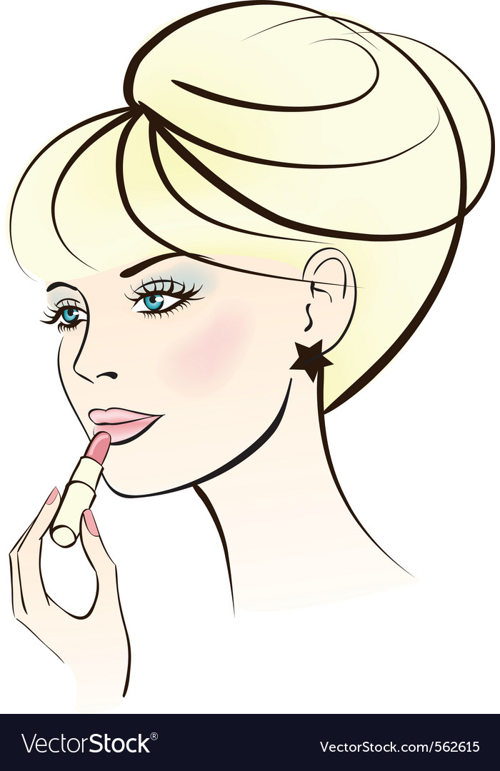 Woman with lipstick vector | Price: 1 Credit (USD $1)