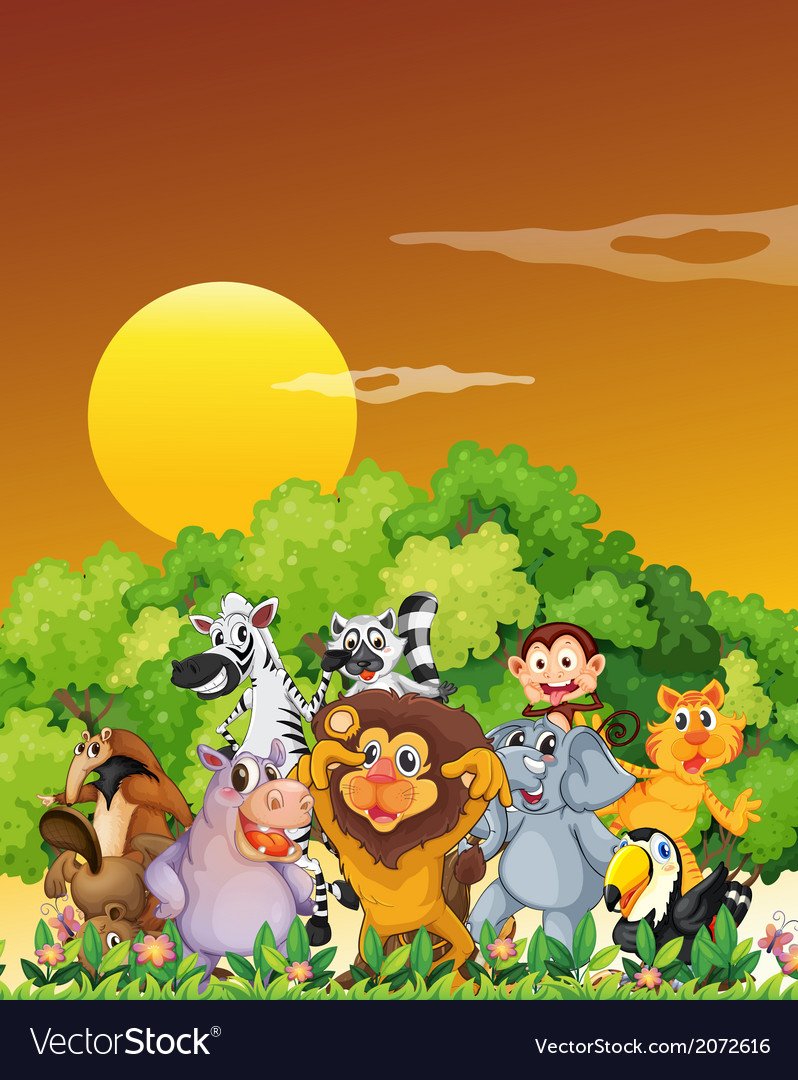 A group of animals at the forest vector | Price: 3 Credit (USD $3)
