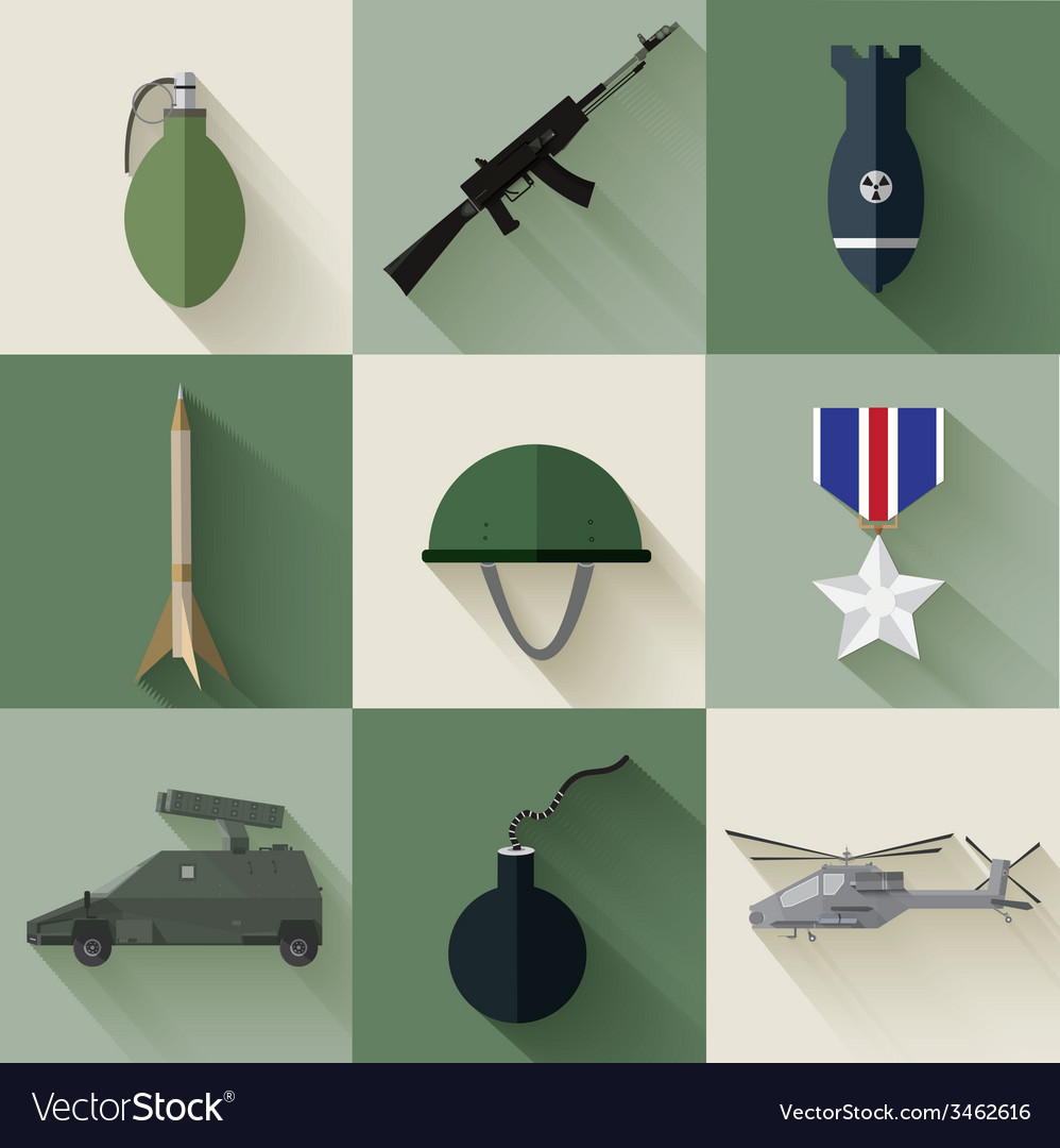 Army concept of military equipment flat icons vector | Price: 1 Credit (USD $1)