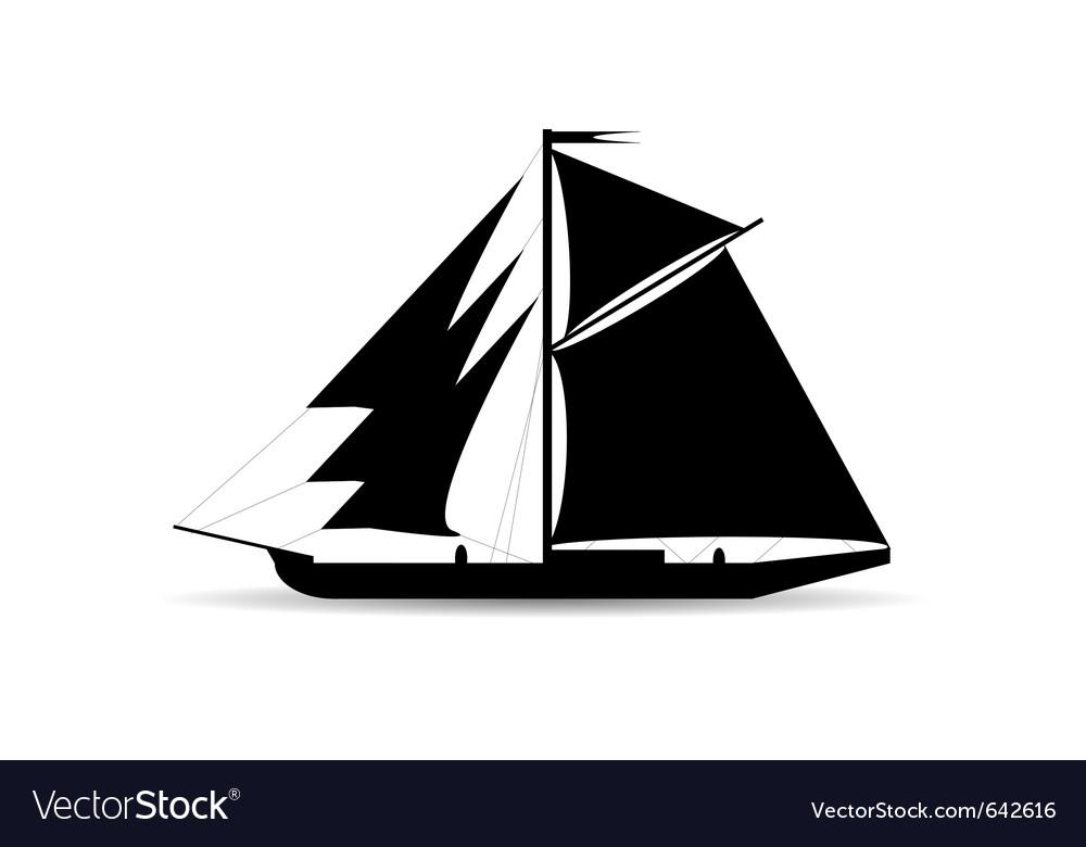 Black ship silhouette vector | Price: 1 Credit (USD $1)