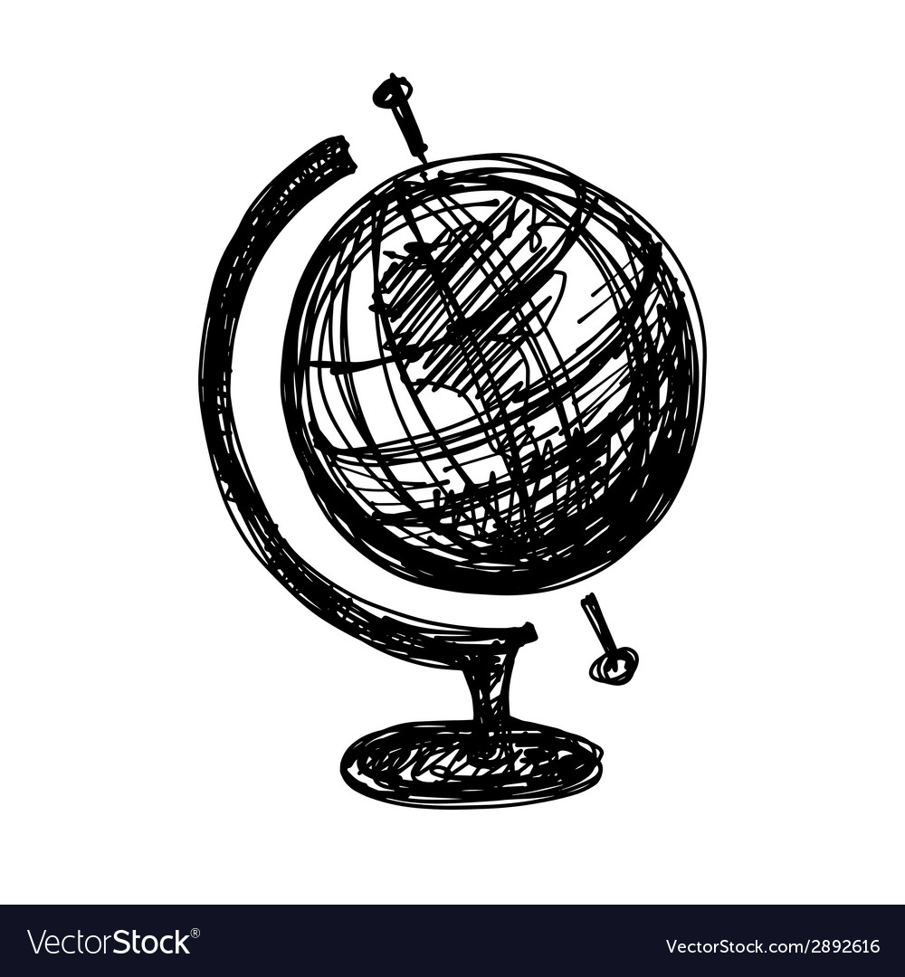 Black sketch drawing of globe vector | Price: 1 Credit (USD $1)