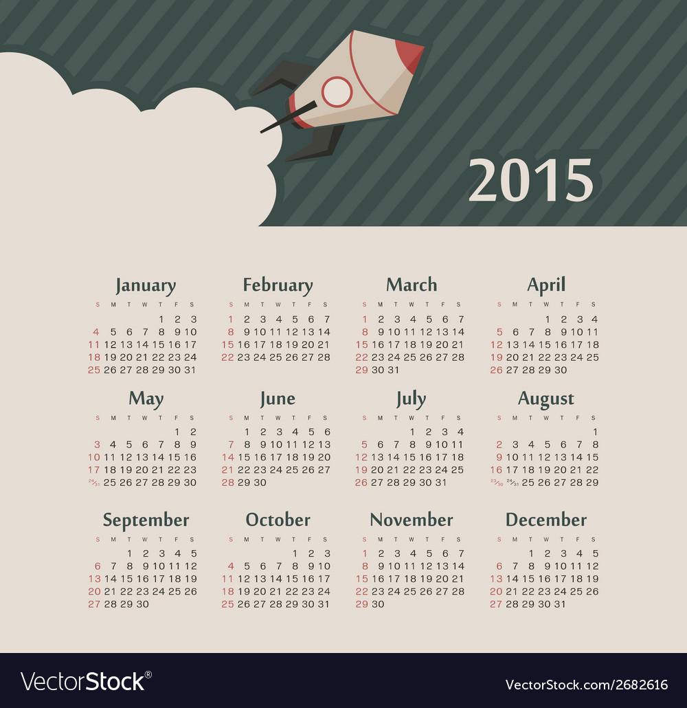 Calendar 2015 year with rocket vector | Price: 1 Credit (USD $1)
