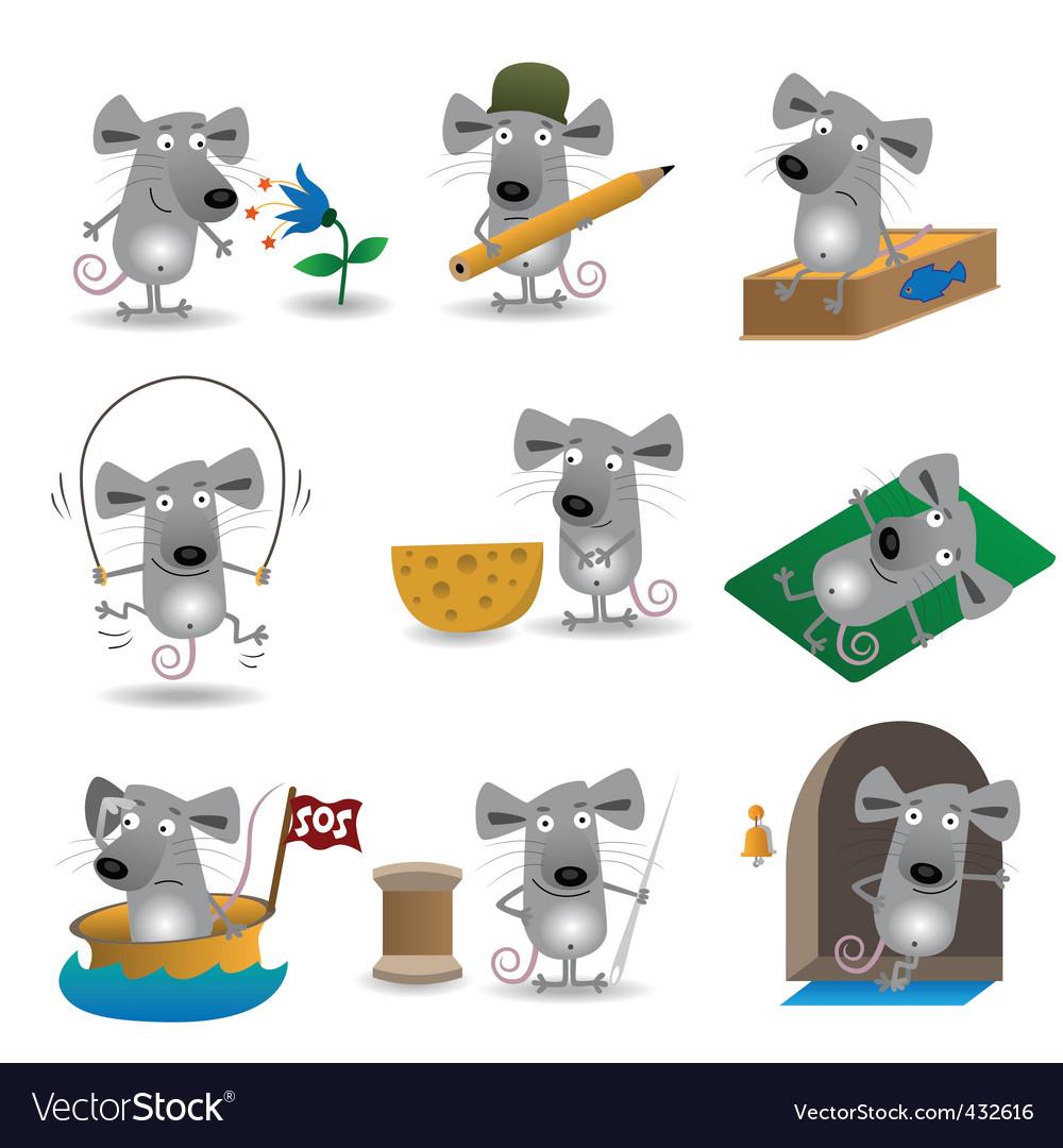 Cartoon mice set vector | Price: 1 Credit (USD $1)