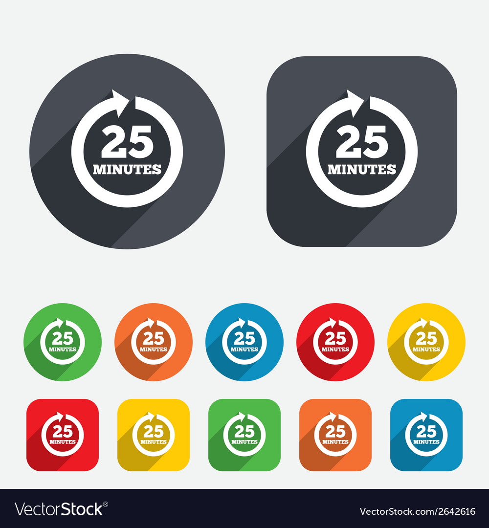 Every 25 minutes sign icon full rotation arrow vector   Price: 1 Credit (USD $1)