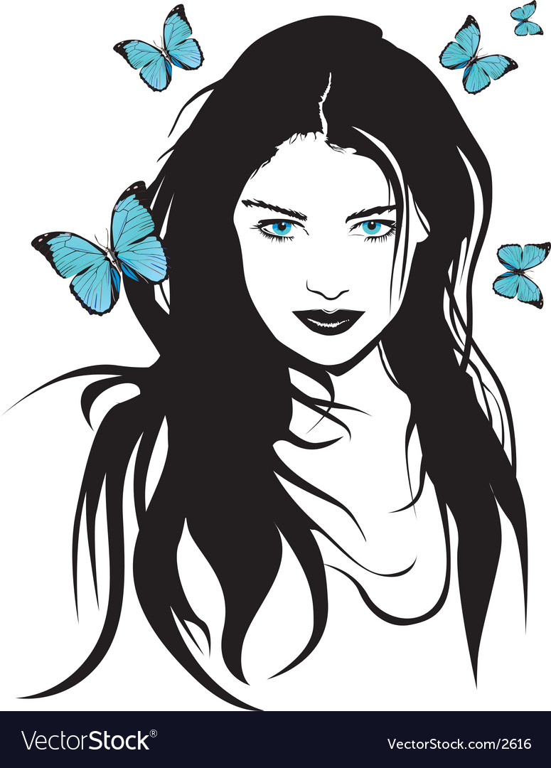 Girl with butterflies vector