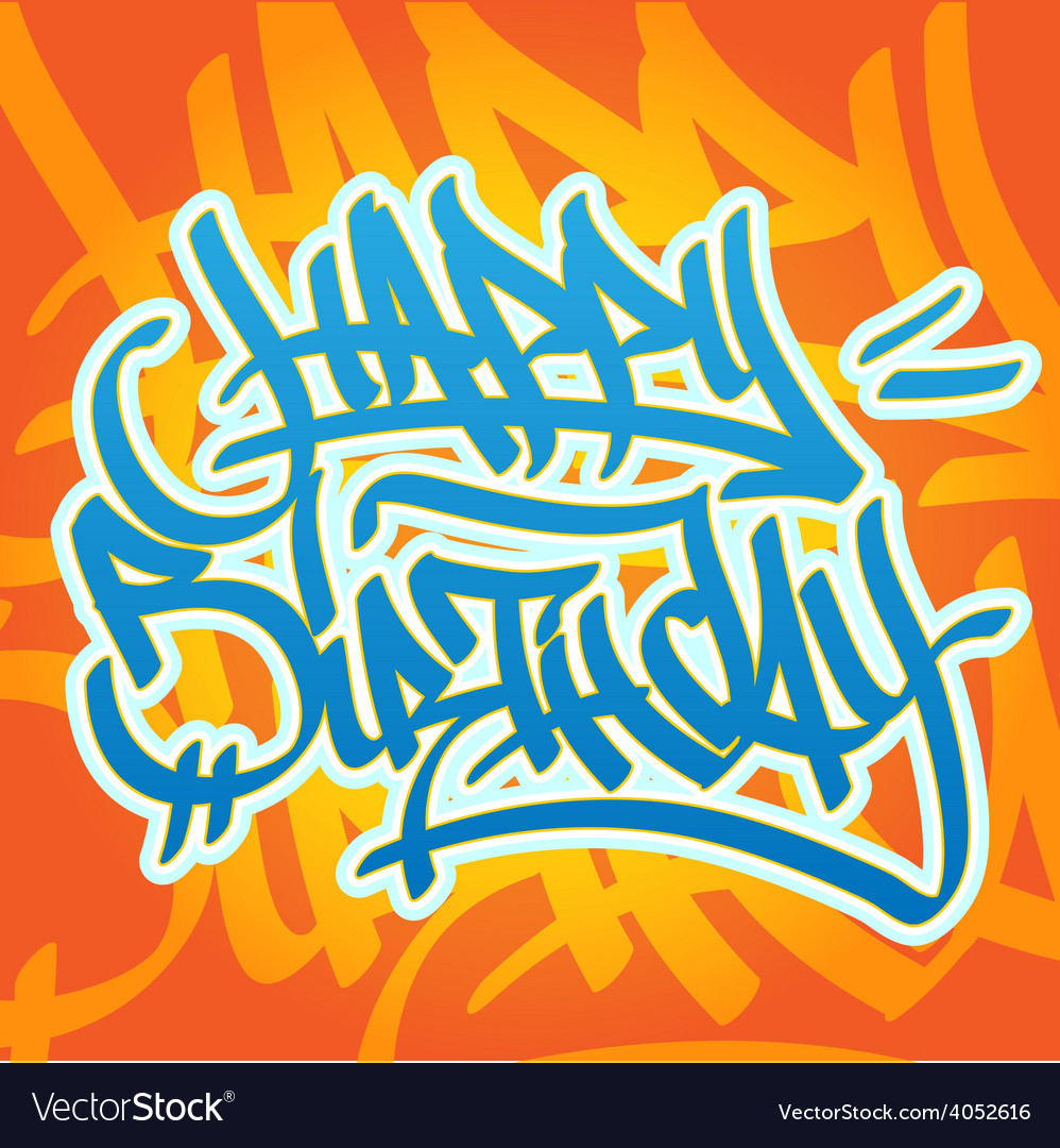 Happy birthday graffiti vector | Price: 1 Credit (USD $1)