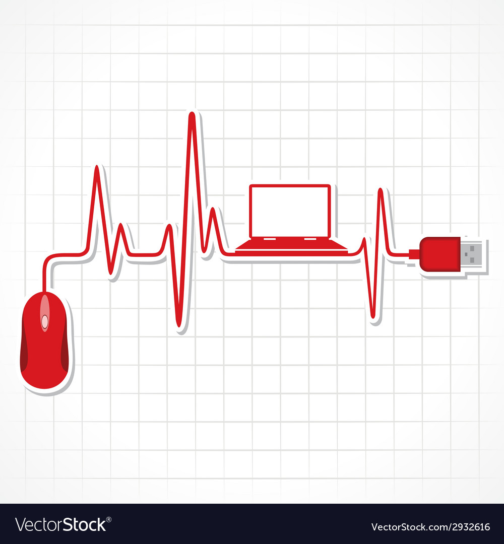Heartbeat with mouse and laptop stock vector | Price: 1 Credit (USD $1)