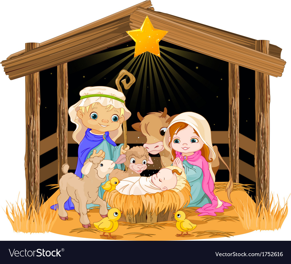 Holy family at christmas night vector | Price: 3 Credit (USD $3)