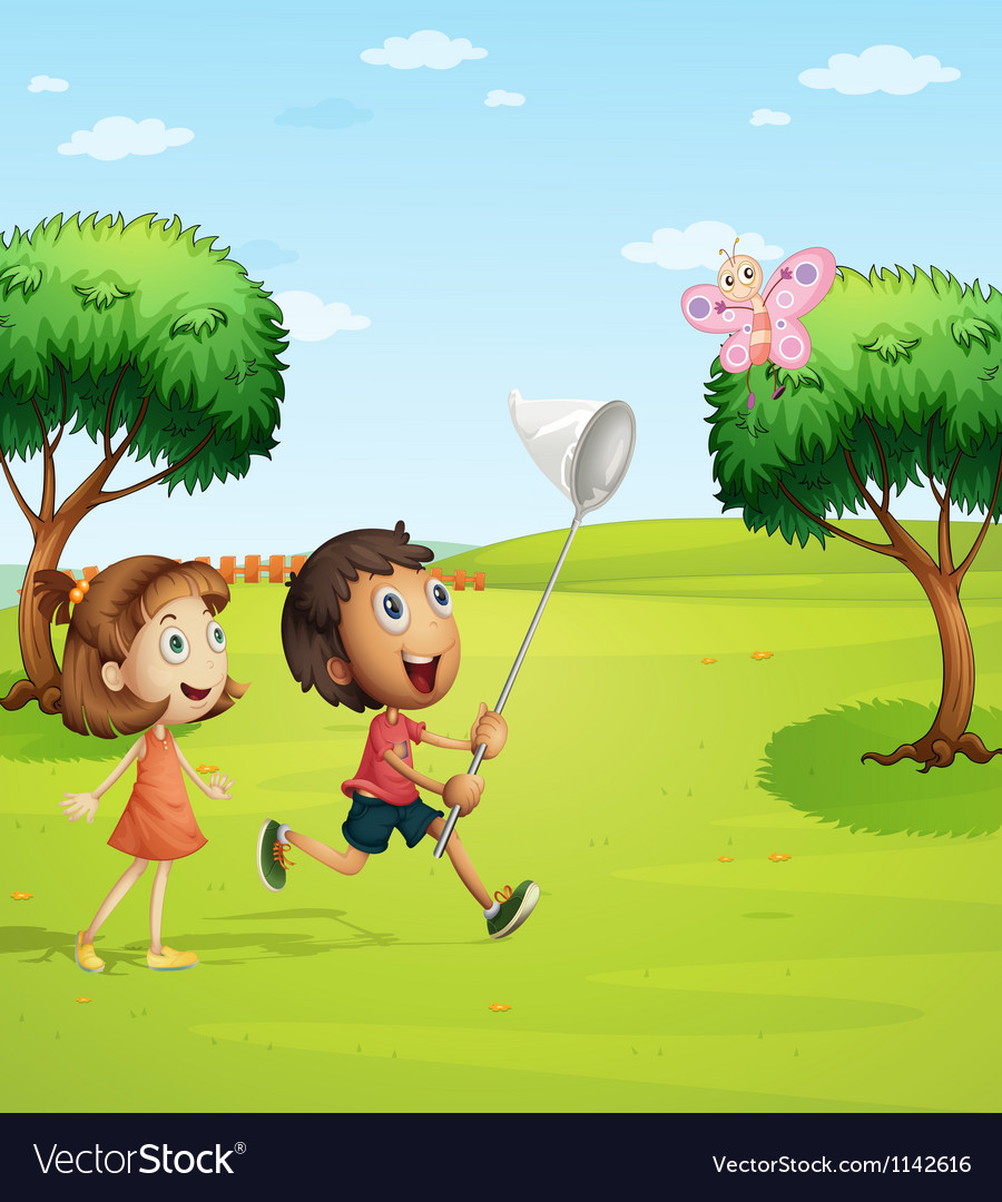 Kids trying to catch a butterfly vector | Price: 1 Credit (USD $1)