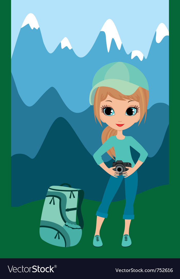 Pretty girl the tourist vector | Price: 3 Credit (USD $3)