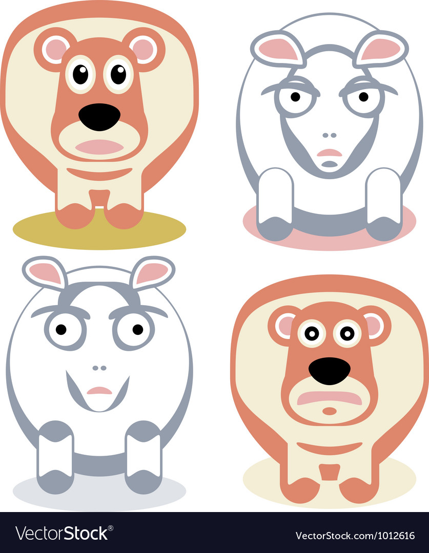 Scared and angry sheeps vector | Price: 1 Credit (USD $1)