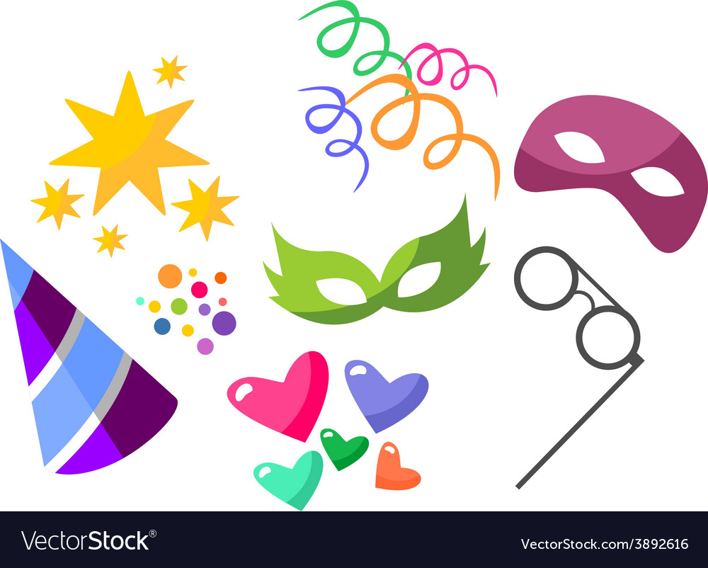 Set colorful objects of carnival vector | Price: 1 Credit (USD $1)
