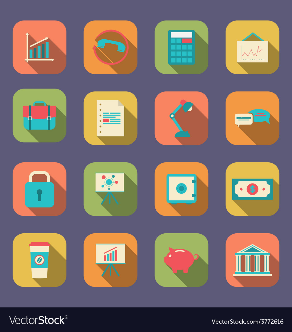 Set flat icons of web design objects business vector | Price: 1 Credit (USD $1)