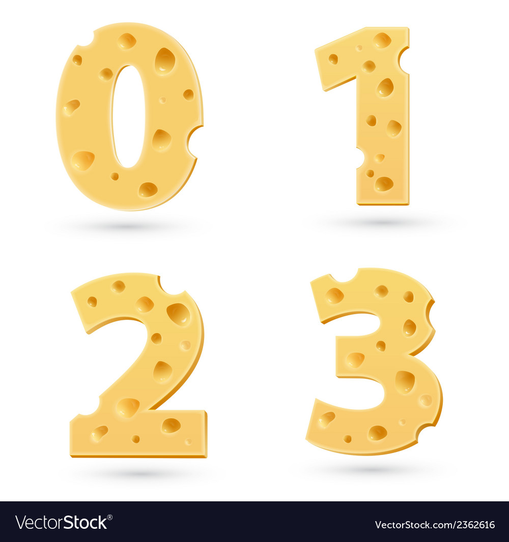 Set of cheese numbers vector | Price: 1 Credit (USD $1)
