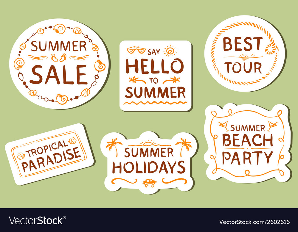 Summer tags vector | Price: 1 Credit (USD $1)