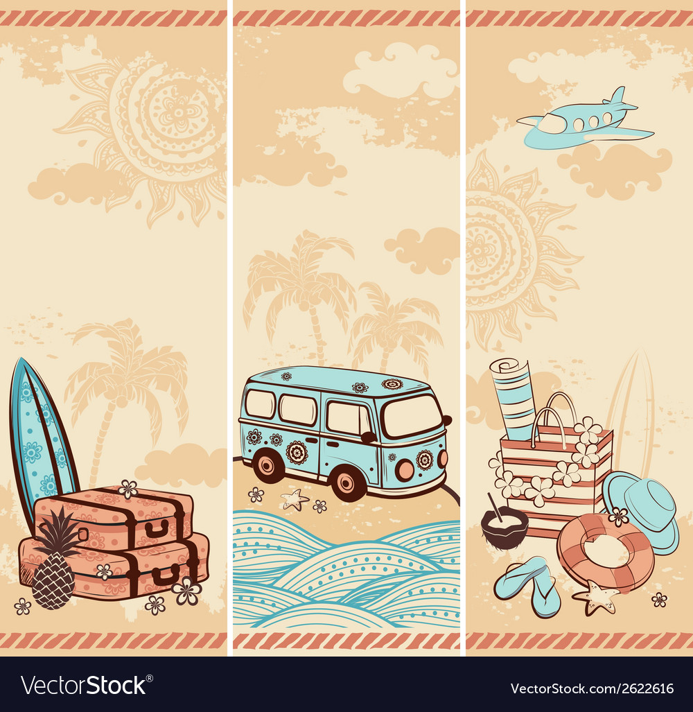 Vintage summer and travel banners vector | Price: 1 Credit (USD $1)