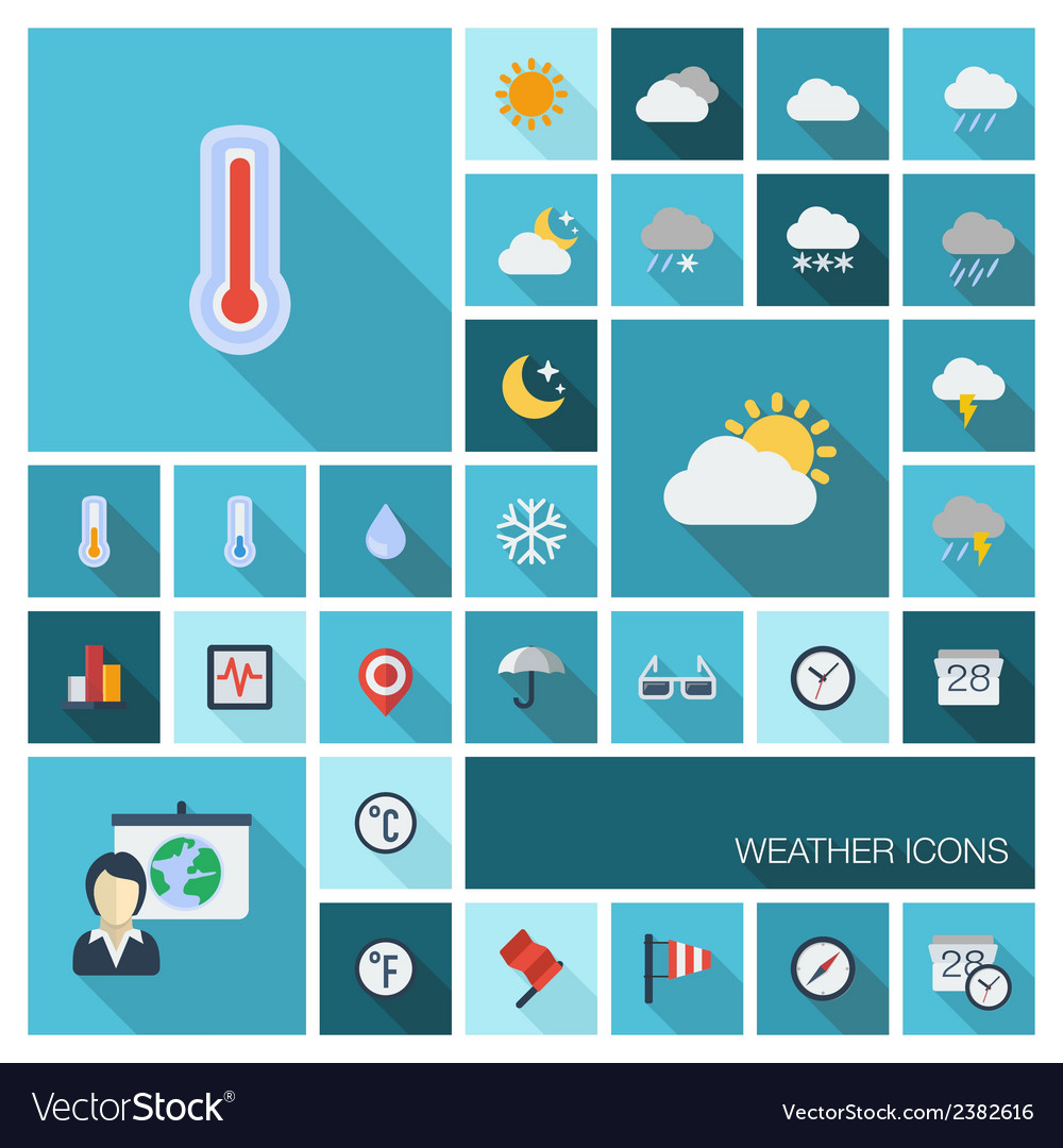 Weather icons with long shadow vector | Price: 1 Credit (USD $1)
