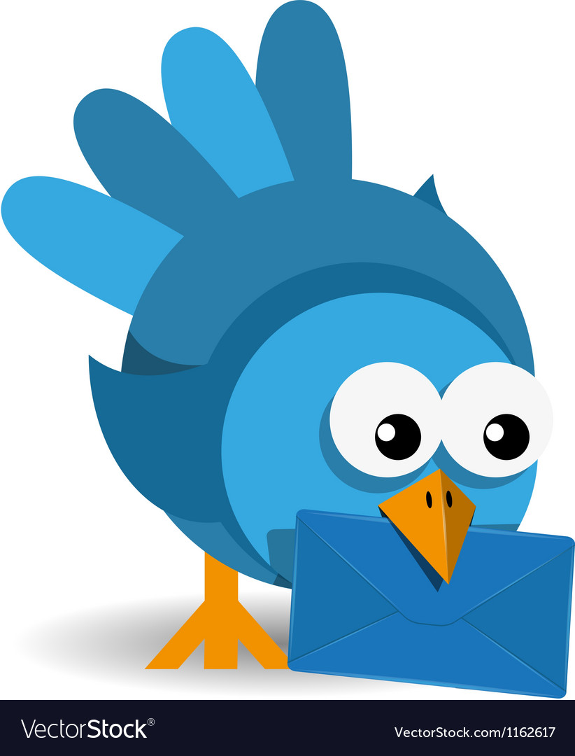 Blue bird with a blue envelope vector | Price: 1 Credit (USD $1)