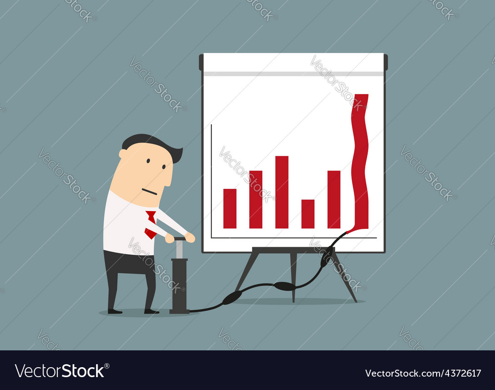 Businessman pumping up graph to increase profit vector | Price: 1 Credit (USD $1)