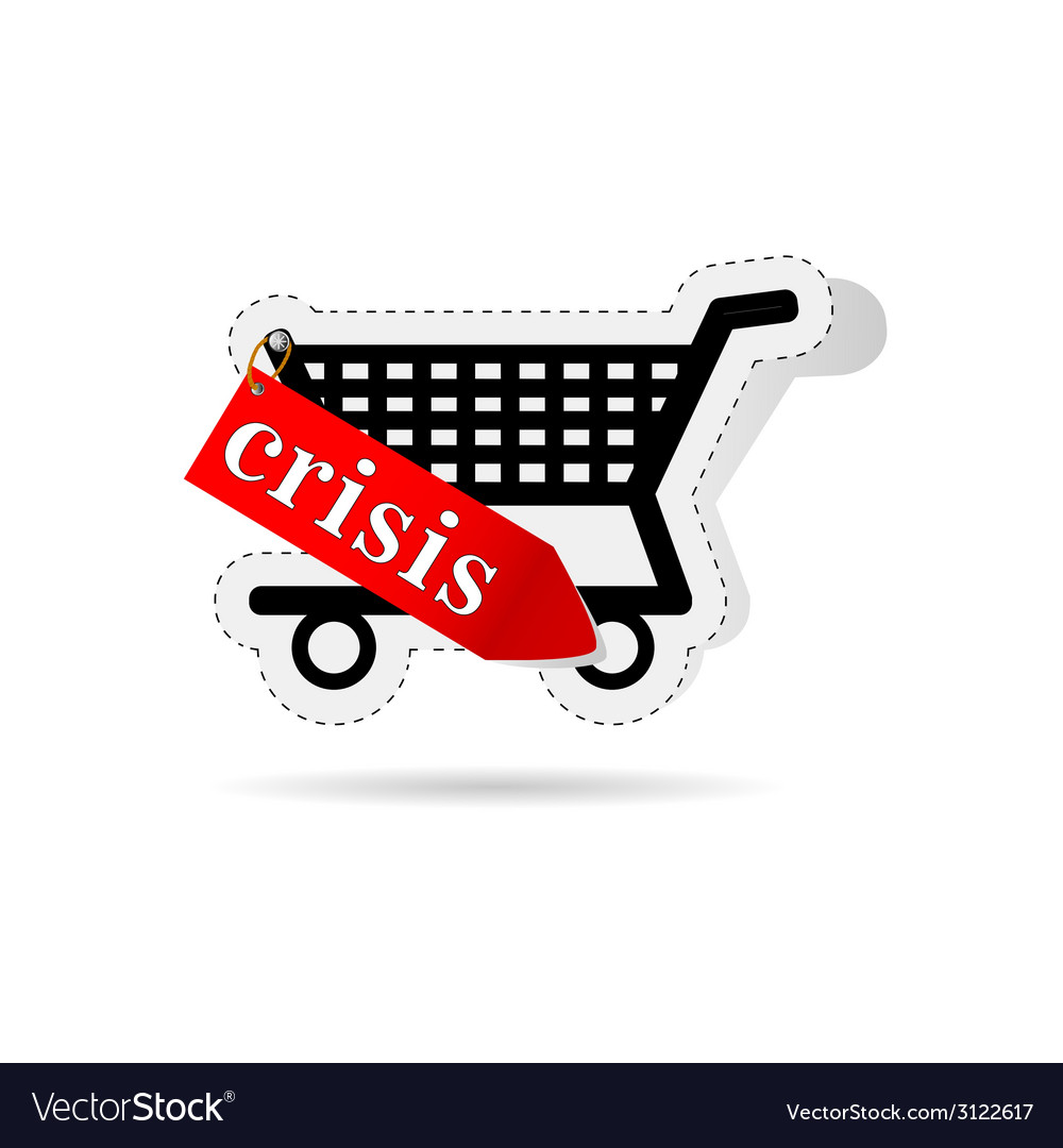 Consumer basket with sign of crisis vector | Price: 1 Credit (USD $1)