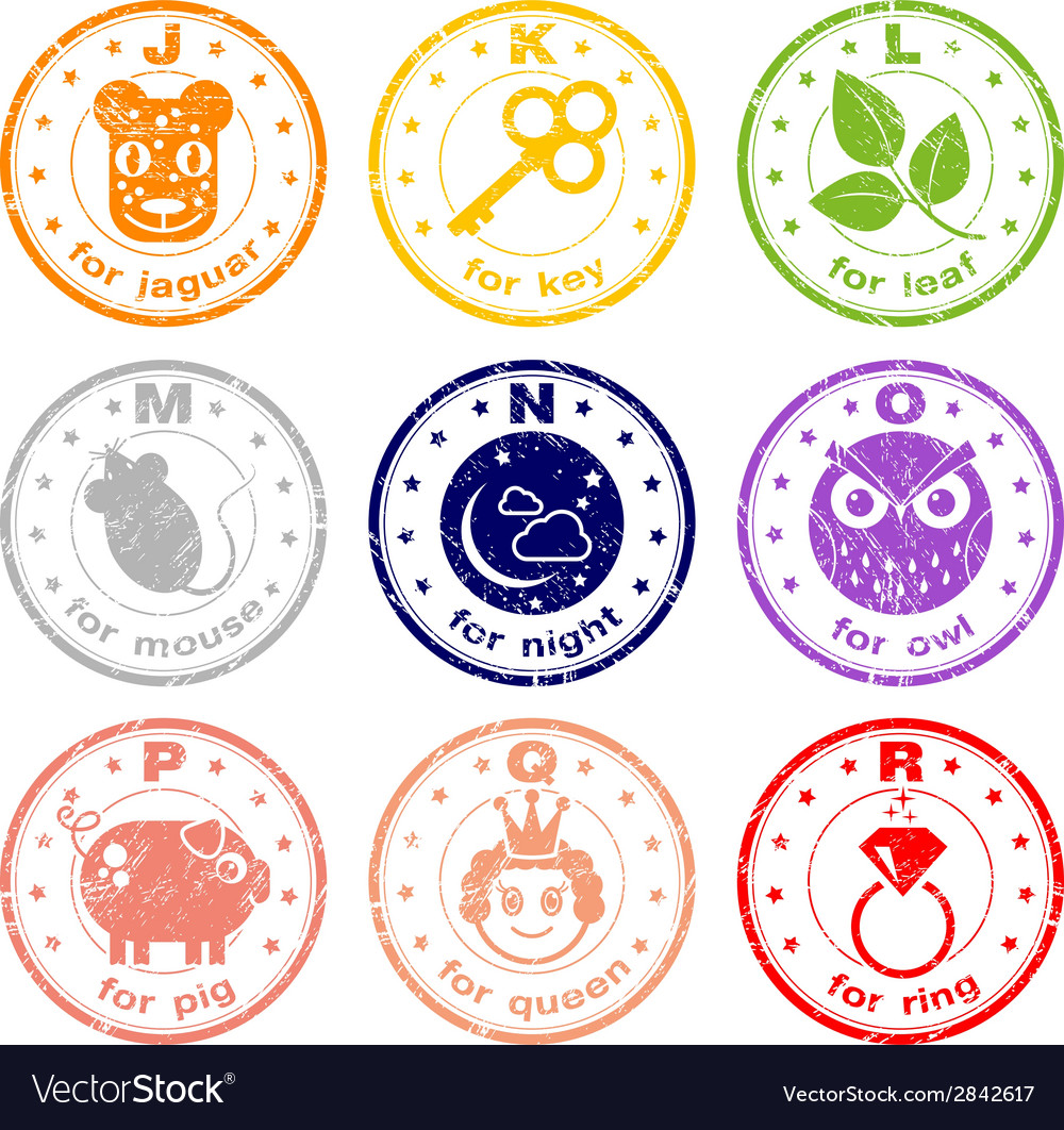 Cute abc stamps vector | Price: 1 Credit (USD $1)