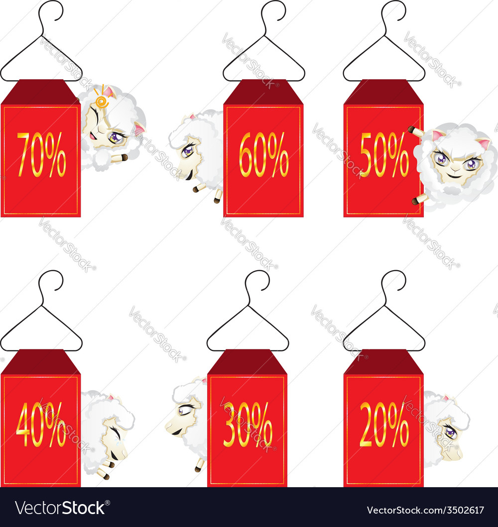 Discount labels with sheeps vector | Price: 1 Credit (USD $1)