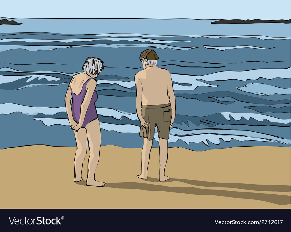 Elderly couple looking at the horizon vector | Price: 1 Credit (USD $1)