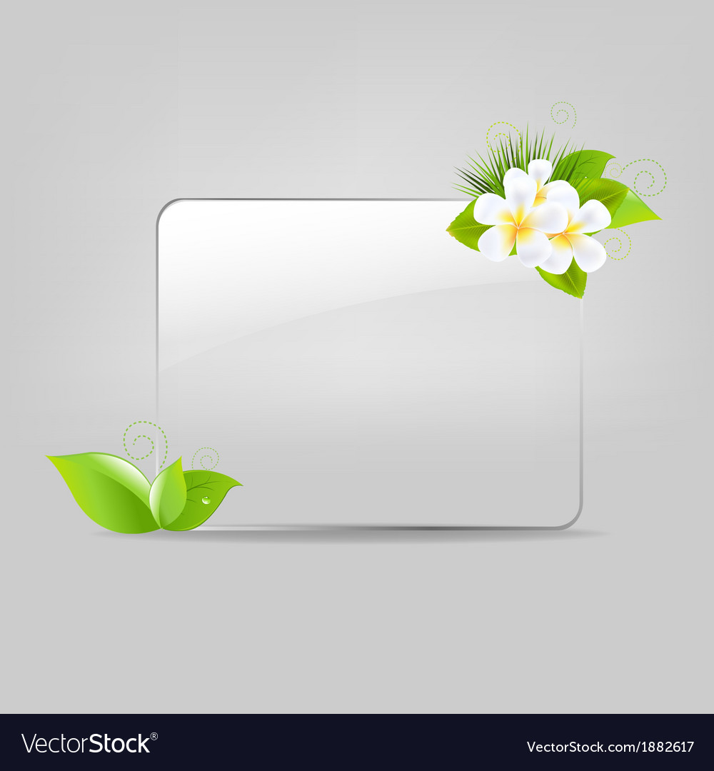 Glass frame with leafs and flowers vector | Price: 1 Credit (USD $1)