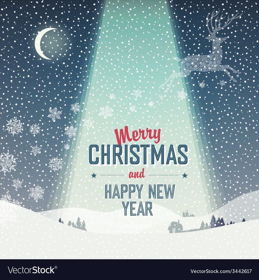 Merry christmas card calm winter scene vector | Price: 1 Credit (USD $1)
