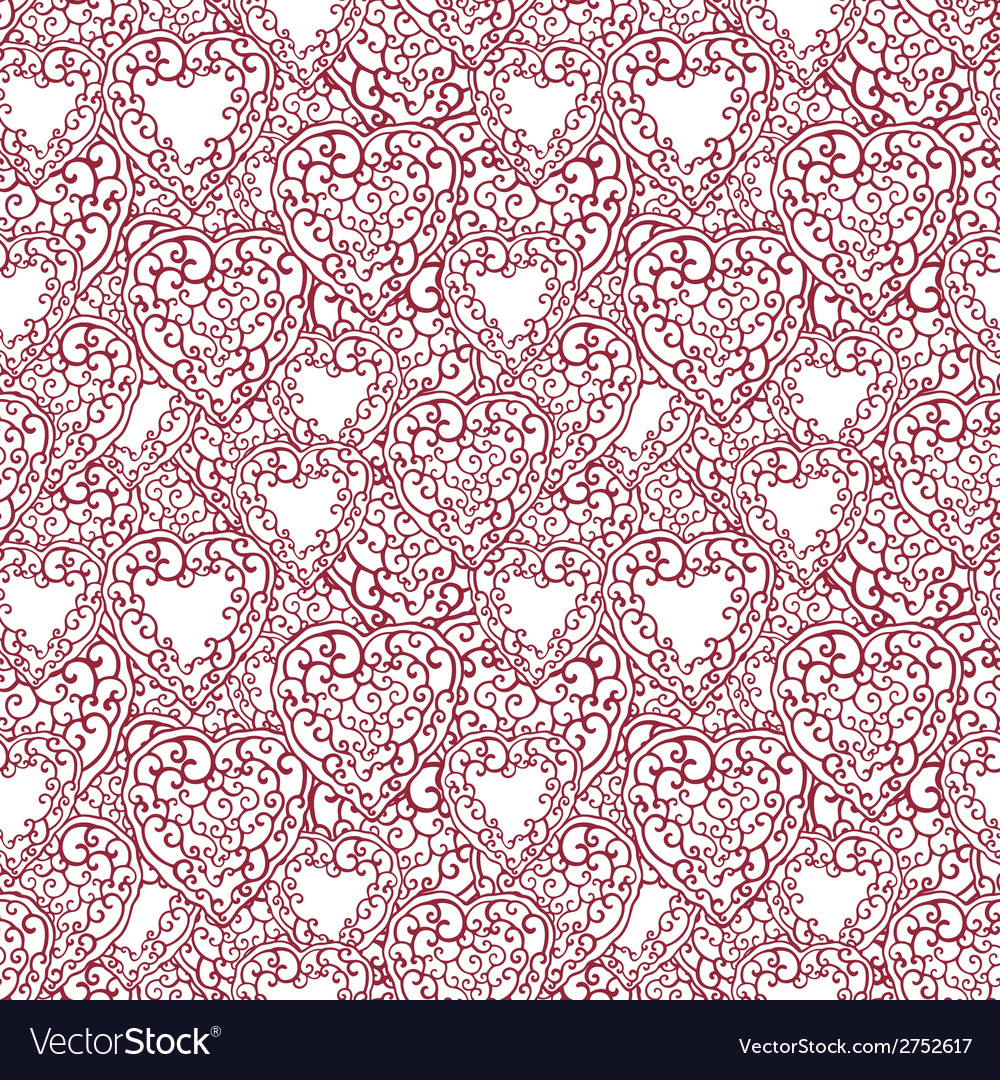 Seamless pattern with doodle hearts vector | Price: 1 Credit (USD $1)