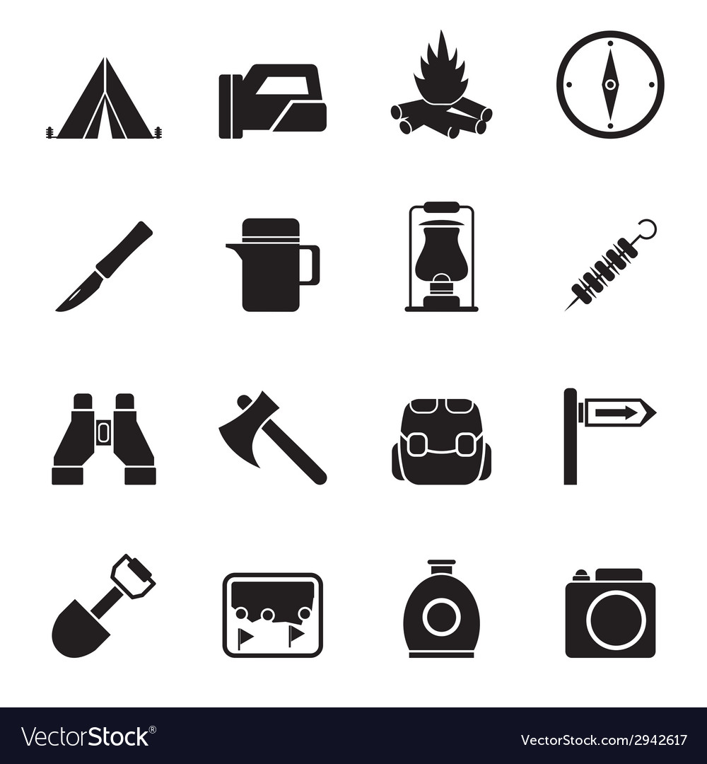 Silhouette tourism and hiking icons vector | Price: 1 Credit (USD $1)