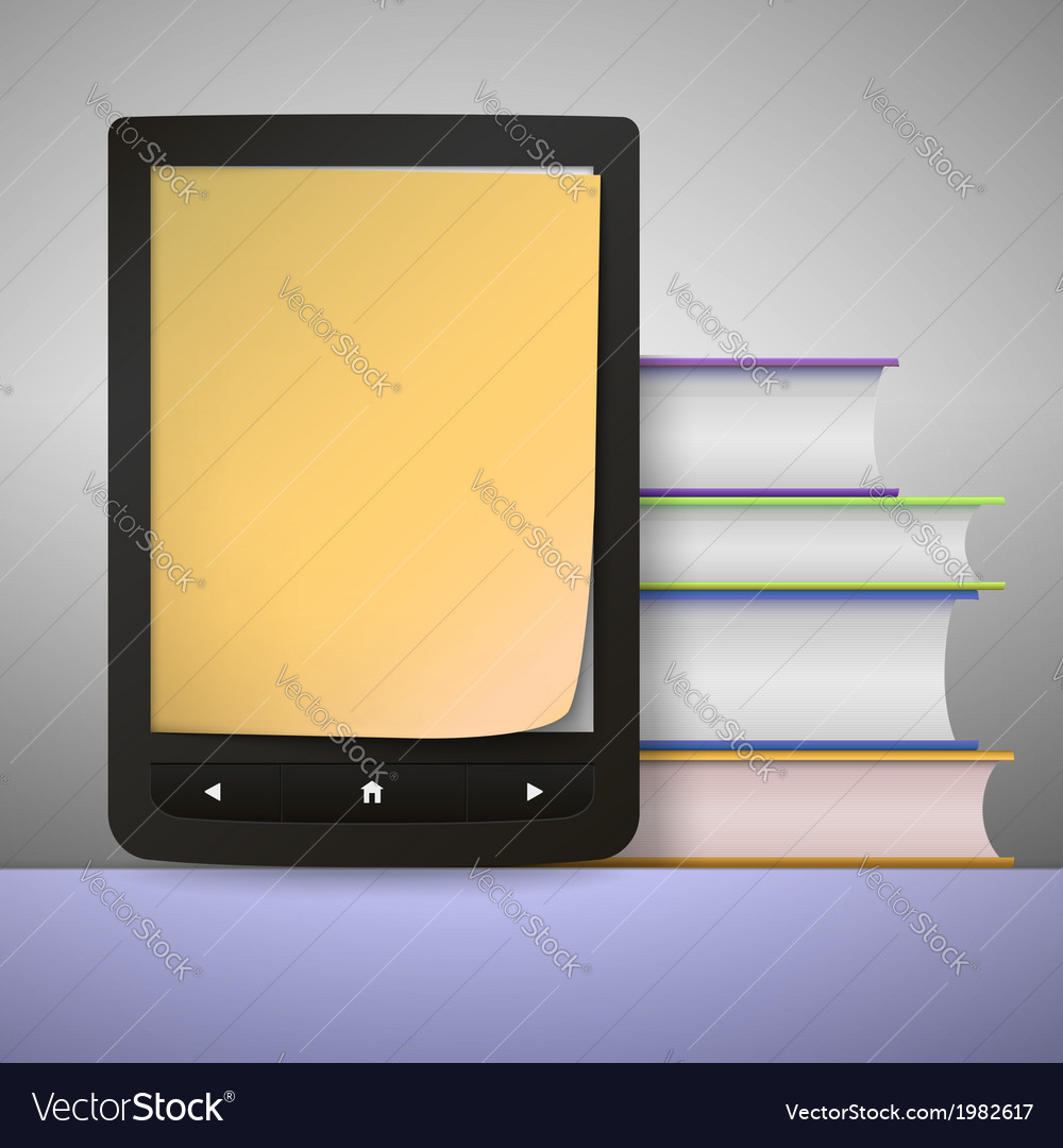 Stack of colorful books with electronic book vector | Price: 1 Credit (USD $1)