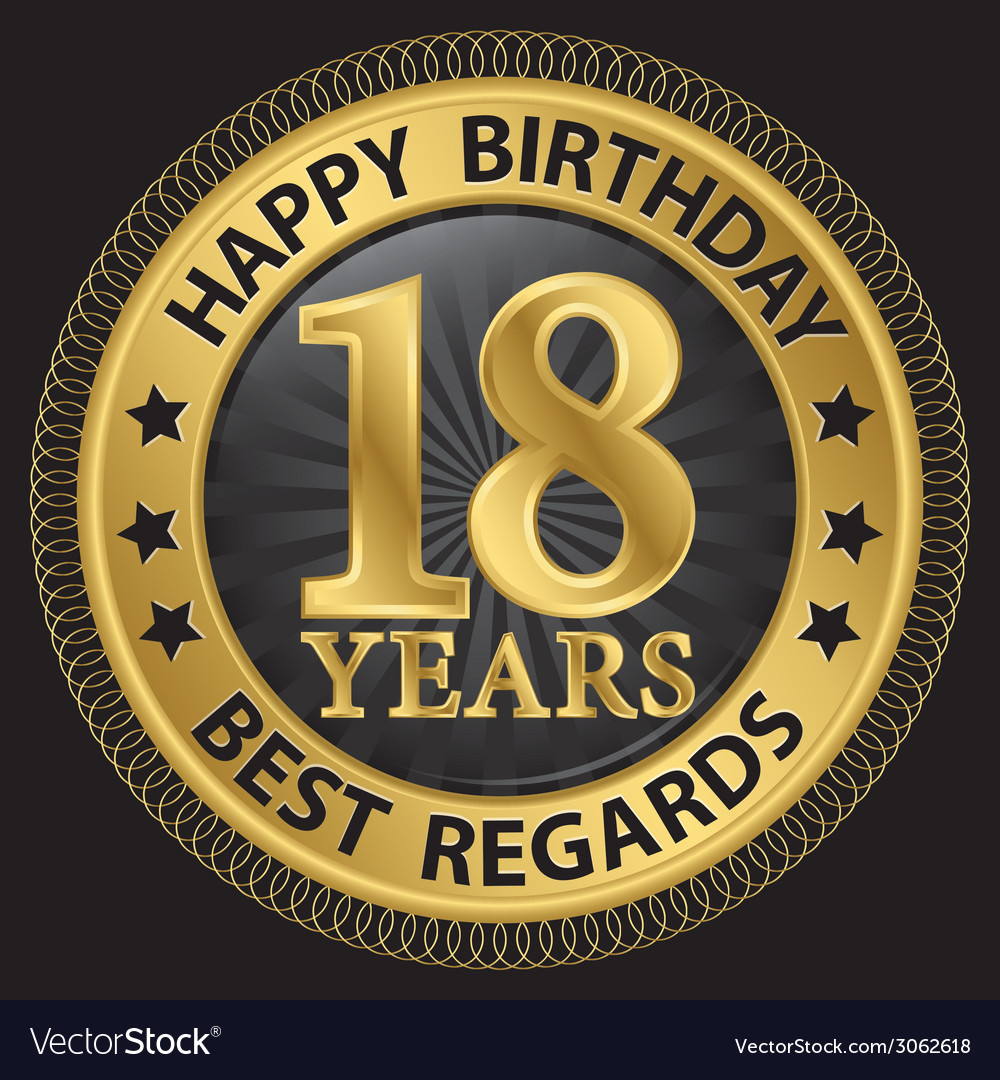 18 years happy birthday best regards gold label vector | Price: 1 Credit (USD $1)
