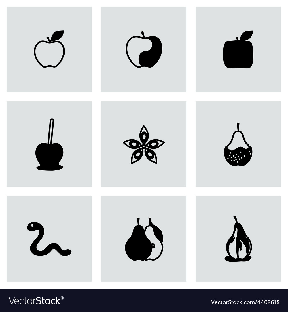Apple and pear icon set vector | Price: 1 Credit (USD $1)