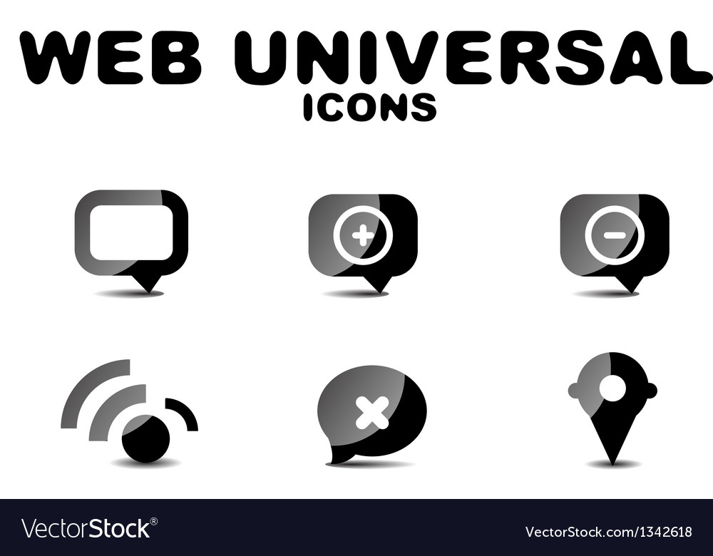 Black glossy web universal icon set vector | Price: 1 Credit (USD $1)