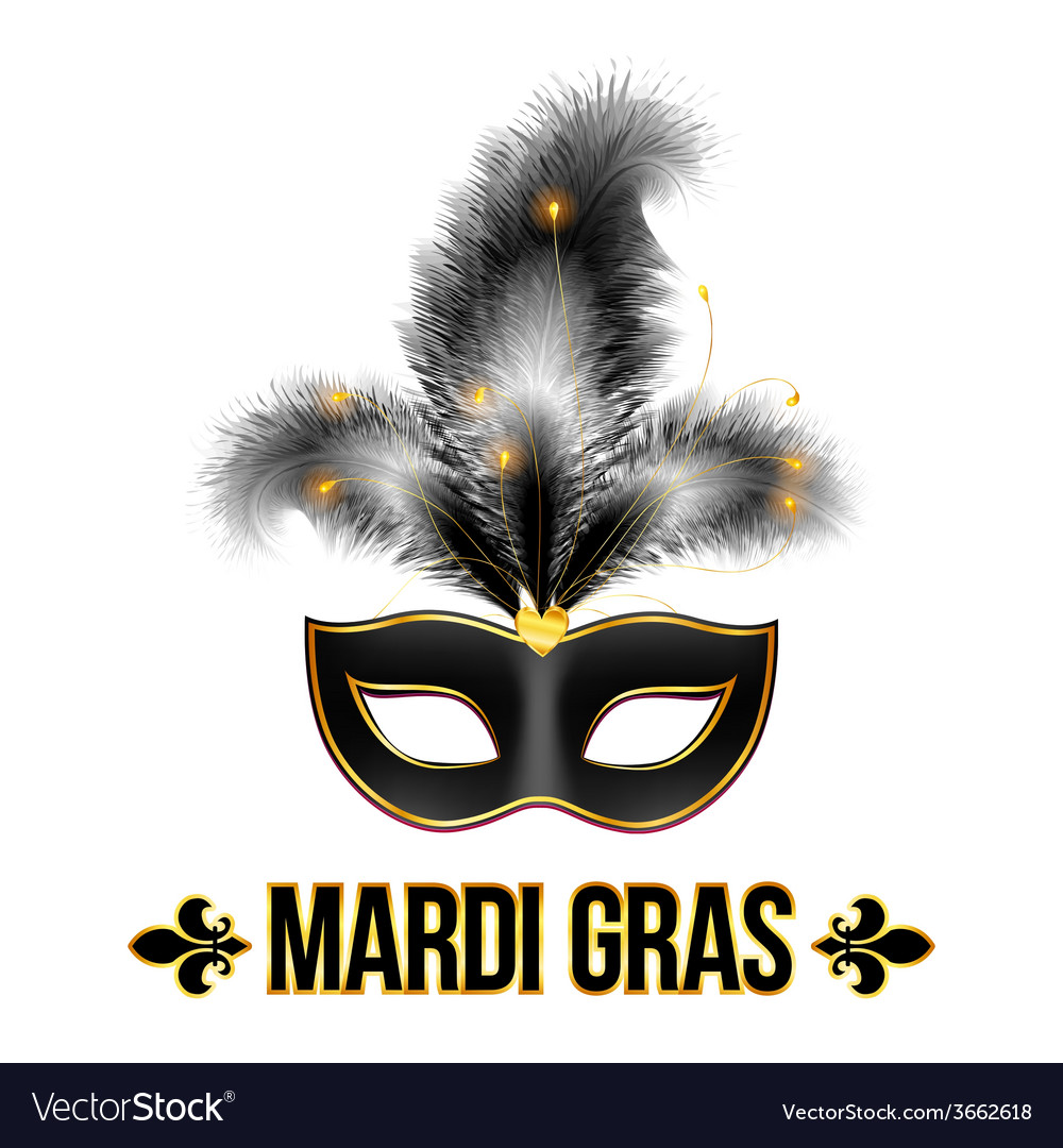 Black mardi gras carnival mask with feathers vector | Price: 1 Credit (USD $1)