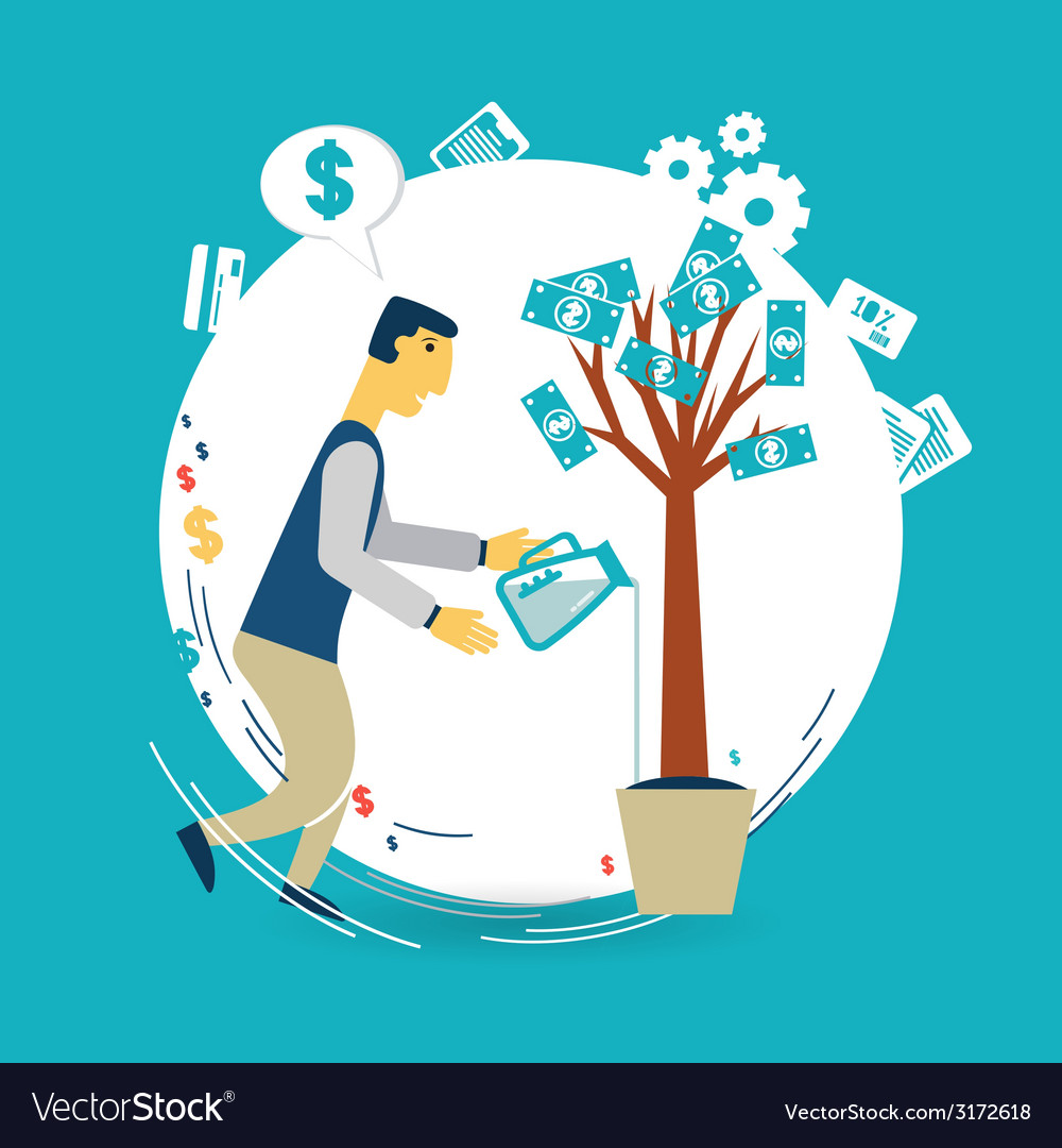 Businessman watering a money tree vector | Price: 1 Credit (USD $1)