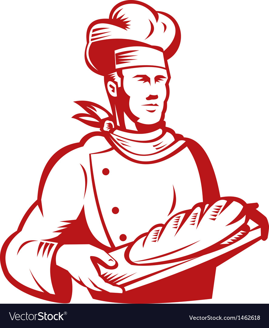 Chef cook baker holding dough bread vector | Price: 1 Credit (USD $1)