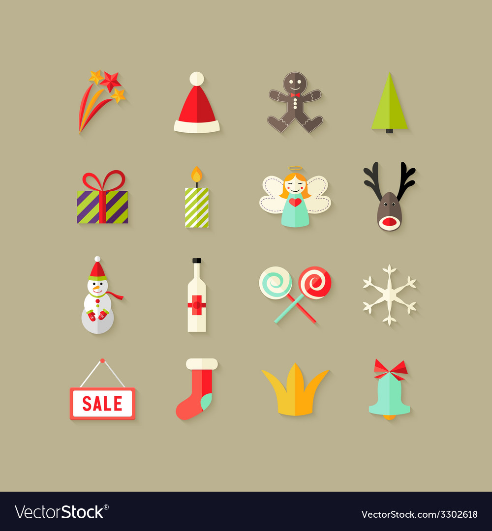 Christmas flat icons set 3 vector | Price: 1 Credit (USD $1)