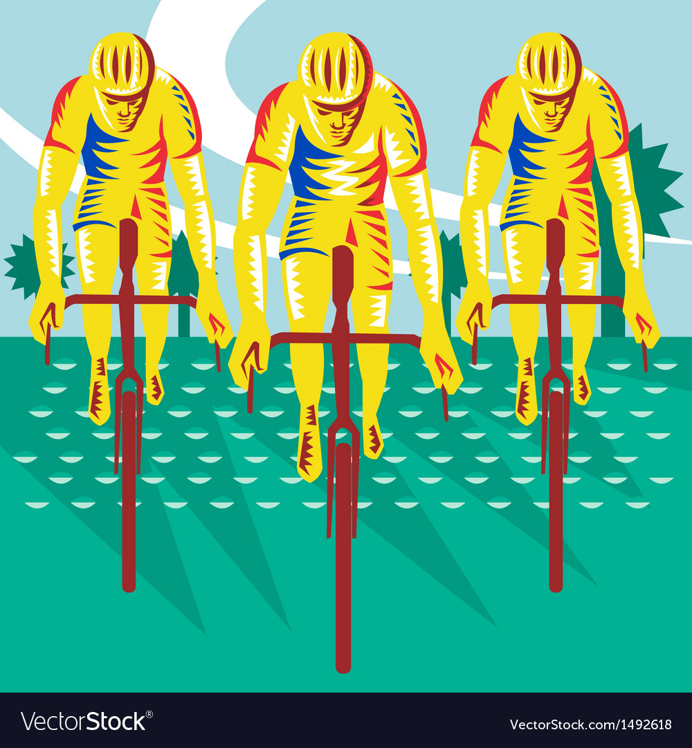 Cyclist riding bicycle cycling retro vector | Price: 1 Credit (USD $1)