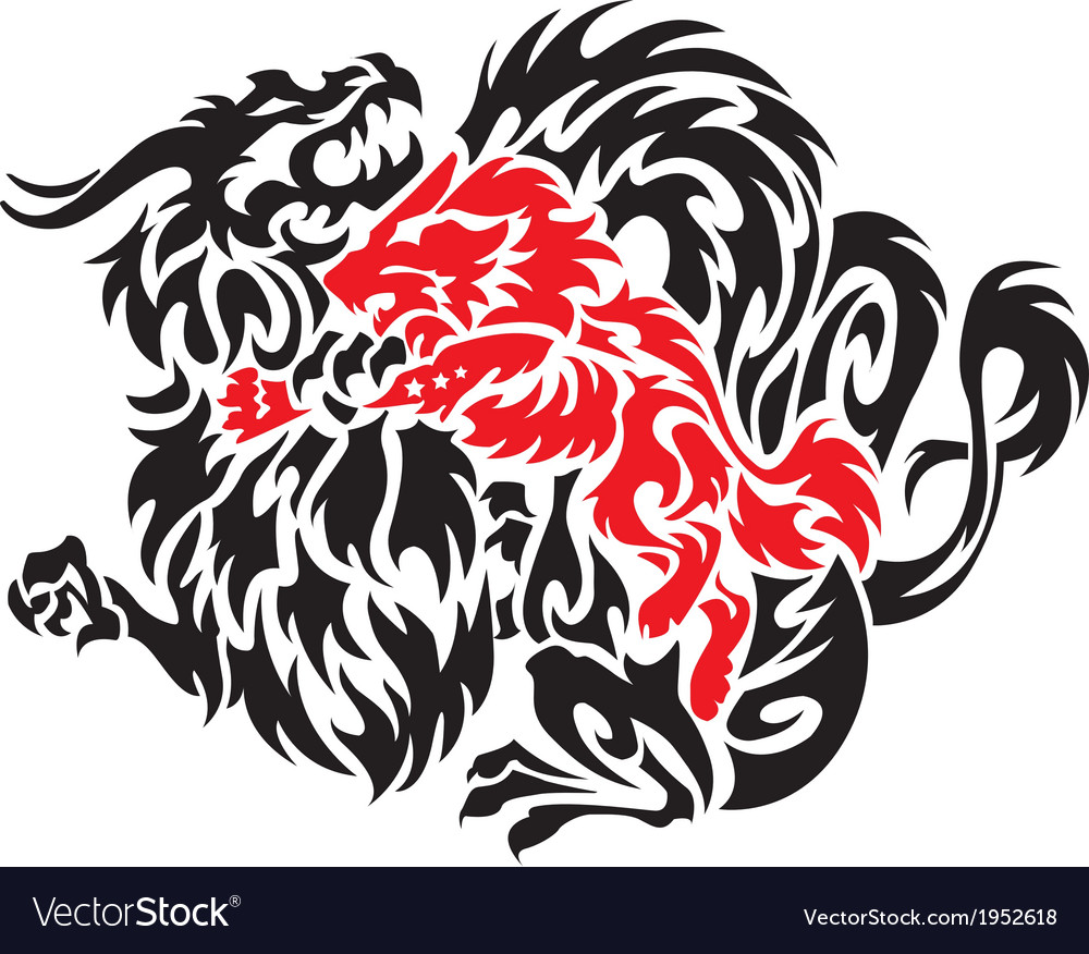 Dragon with wolf on a white background vector | Price: 1 Credit (USD $1)