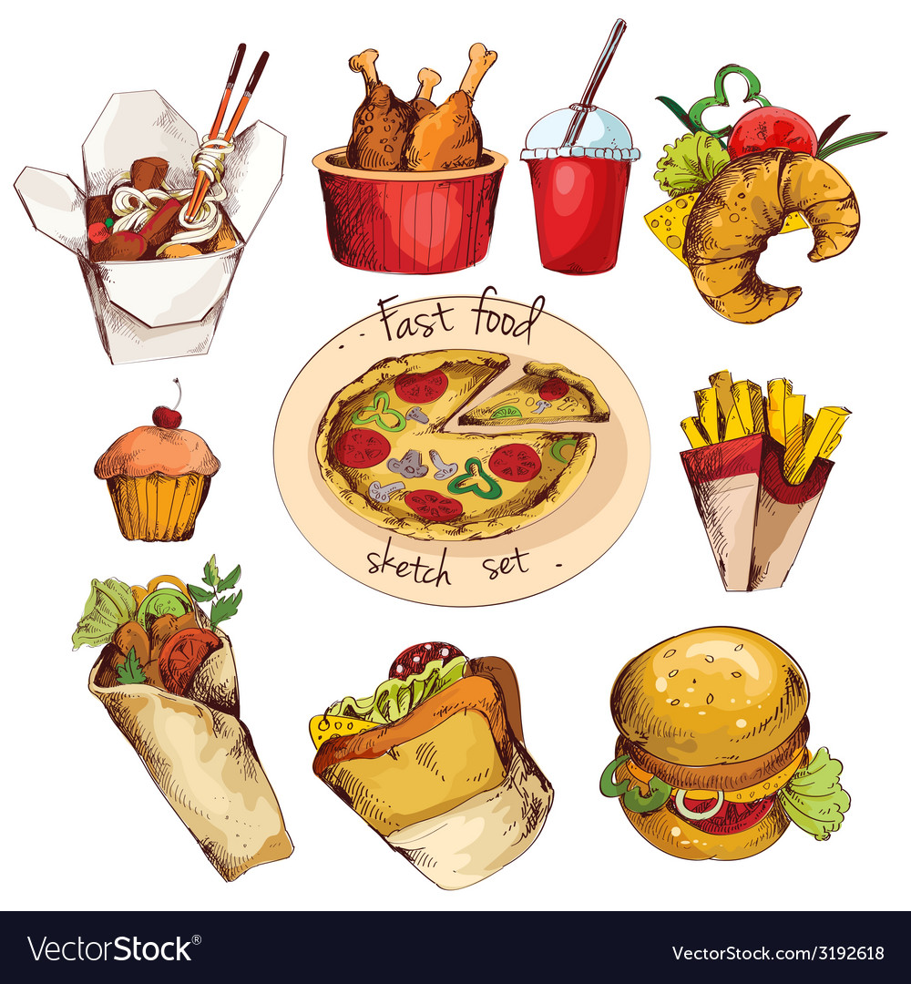 Fast food sketch set vector | Price: 1 Credit (USD $1)
