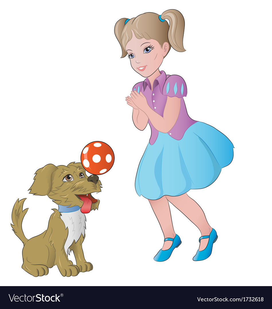 Girl playing with little dog vector | Price: 1 Credit (USD $1)