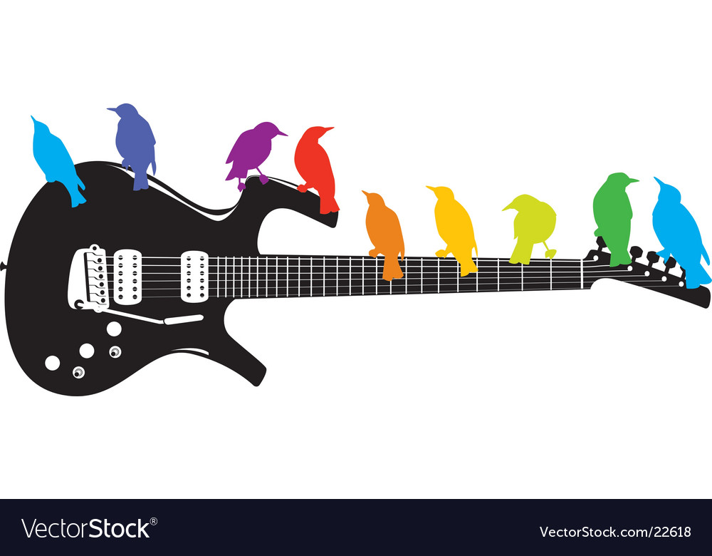 Guitar-birds vector | Price: 1 Credit (USD $1)