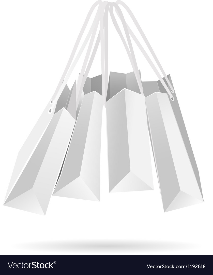 Hanging white paper bags vector | Price: 1 Credit (USD $1)