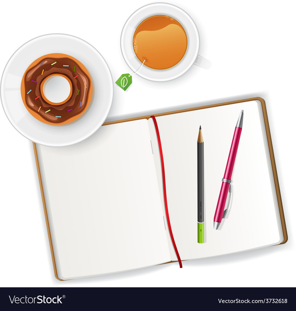 Scene with notebook and tea vector | Price: 1 Credit (USD $1)