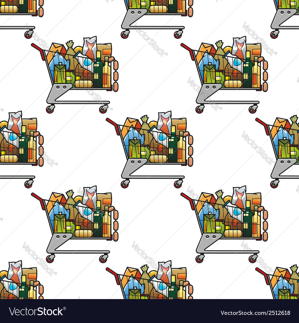 Seamless background pattern of a cart of groceries vector | Price: 1 Credit (USD $1)