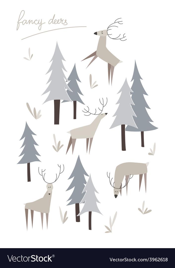 Set of fancy deers vector | Price: 1 Credit (USD $1)