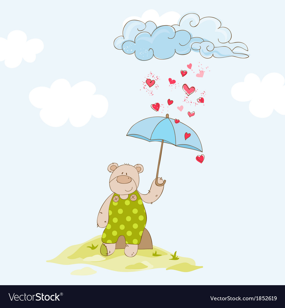 Baby bear with umbrella - baby shower card vector | Price: 1 Credit (USD $1)