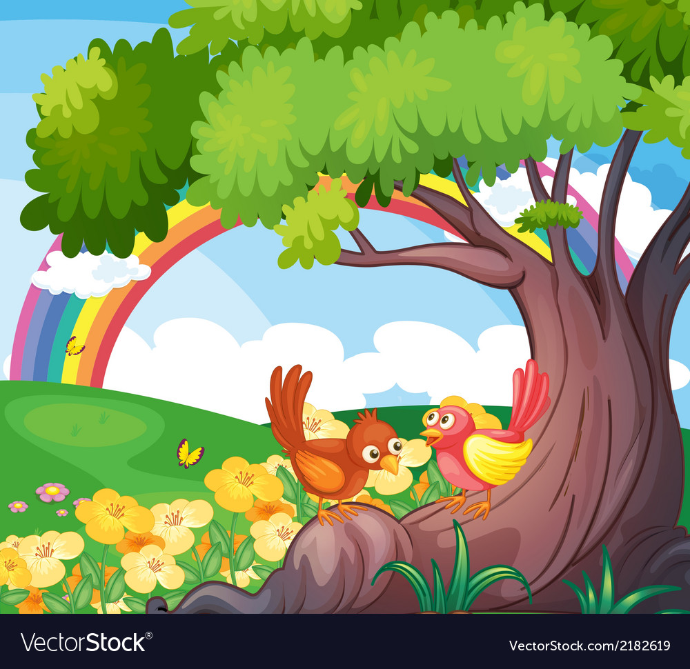 Birds under the tree with a rainbow in the sky vector | Price: 3 Credit (USD $3)